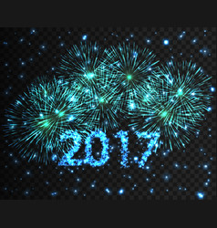 Happy new year 2017 firework background greeting vector