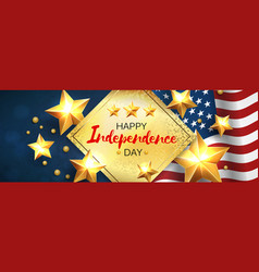 independence day greeting banner with golden stars vector image
