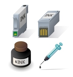 Isometric ink cartriges refill icons set vector image