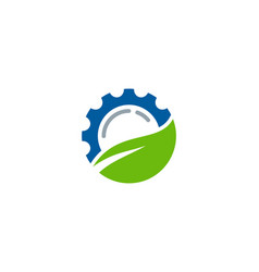 Leaf gear logo icon design vector
