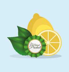 lemon natural product label quality vector image