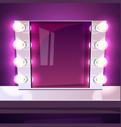 Makeup mirror lamp illuminated vector
