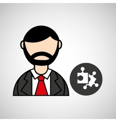 man bearded puzzle icon graphic vector image
