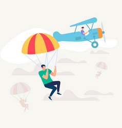man jumped from airplane with parachute skydiving vector image