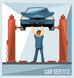 Mechanic in blue suit fixing a blue car in car ser vector
