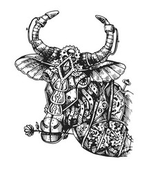Mechanical cow hand drawn vector