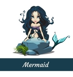 Mermaid girls with black hair sitting on the stone vector