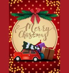 merry christmas postcard with garland polka vector image