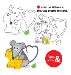 Mouse coloring mouse hugs piece of cheese in vector