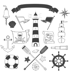 Nautical and sea set vector image