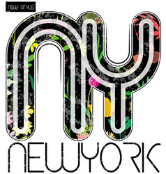 new york flower graphic tee design vector image