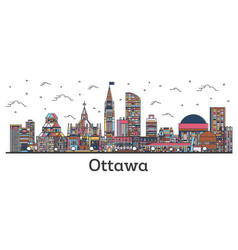 Outline ottawa canada city skyline with color vector