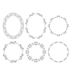 Oval and round floral frames with flowers vector
