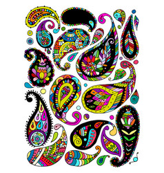 Paisley ornament set sketch for your design vector