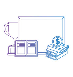 pile text books with chalkboard and trophy vector image
