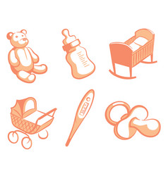 pink childrens icons vector image