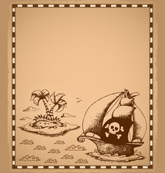 Pirate theme drawing on parchment 1 vector