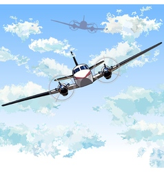 Planes with propellers flying in the sky vector