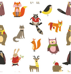 Raccoon and wolf fox and owl bird wearing scarf vector