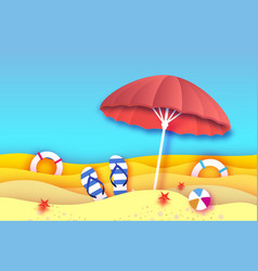 Red parasol - umbrella in paper cut style origami vector