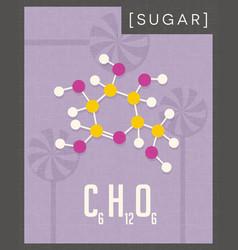 retro poster of simple sugar molecule vector image