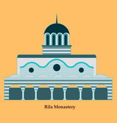 rila monastery in bulgaria flat cartoon style vector image
