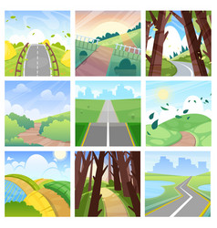 road landscape roadway in forest or way to vector image
