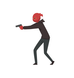 Robber or burglar dressed in black clothes and vector