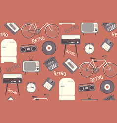 seamless pattern with 80s years old objects retro vector image