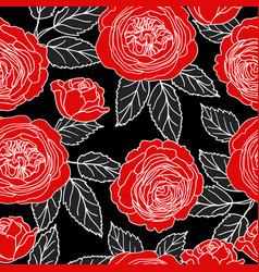 seamless pattern with graphic red roses vector image