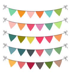 set multi colored flat buntings garlands vector image