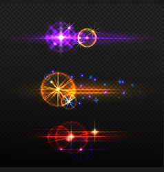 set of glow light effects isolated vector image