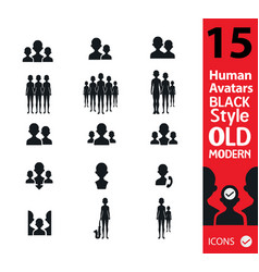 Set of peoplehuman silhouette vector