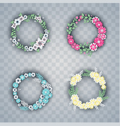 set white and colorful paper flowers wreaths vector image
