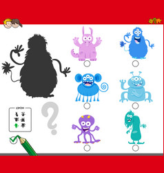 shadows game with cartoon monster characters vector image