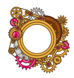 steampunk frame collage metal gears in doodle vector image
