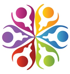 Teamwork leafs logo vector image