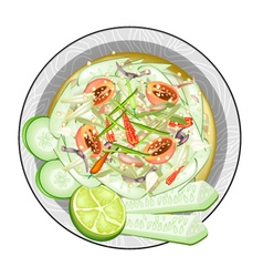 Thai Cucumber Salad with Fermented Salted Crabs vector