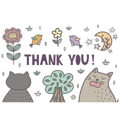 thank you banner with a cute cats vector image