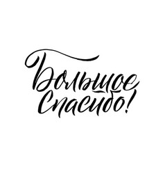 thank you very much black russian calligraphy vector image