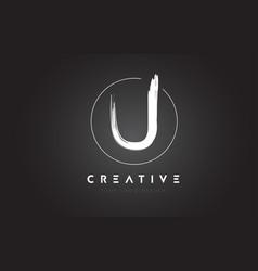 U brush letter logo design artistic handwritten vector
