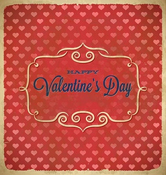 Valentines Day polka dot frame with hearts vector image