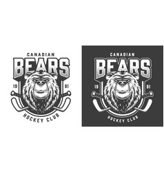 Vintage serious bear sport mascot print vector