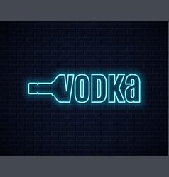 vodka bottle neon sign lettering sign vodka vector image