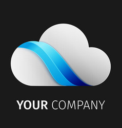 white and blue cloud logo design ribbon vector image