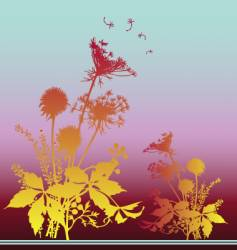 Wildflowers in the fall vector