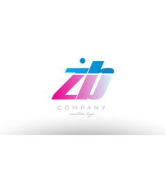 zb z b alphabet letter combination pink blue bold vector image