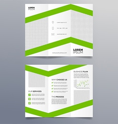 Business trifold brochure template - green vector image