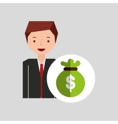 character businessman with bag money vector image