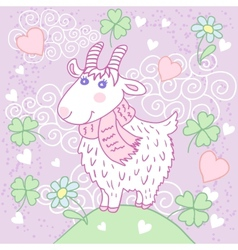 Cute goat on a meadow vector image vector image